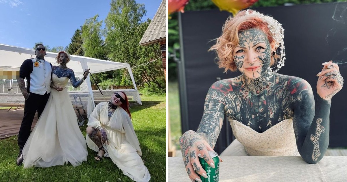 t1 33.jpg?resize=1200,630 - Tattoo OBSESSED Bride And Groom Show Up For Their Wedding Covered In Ink