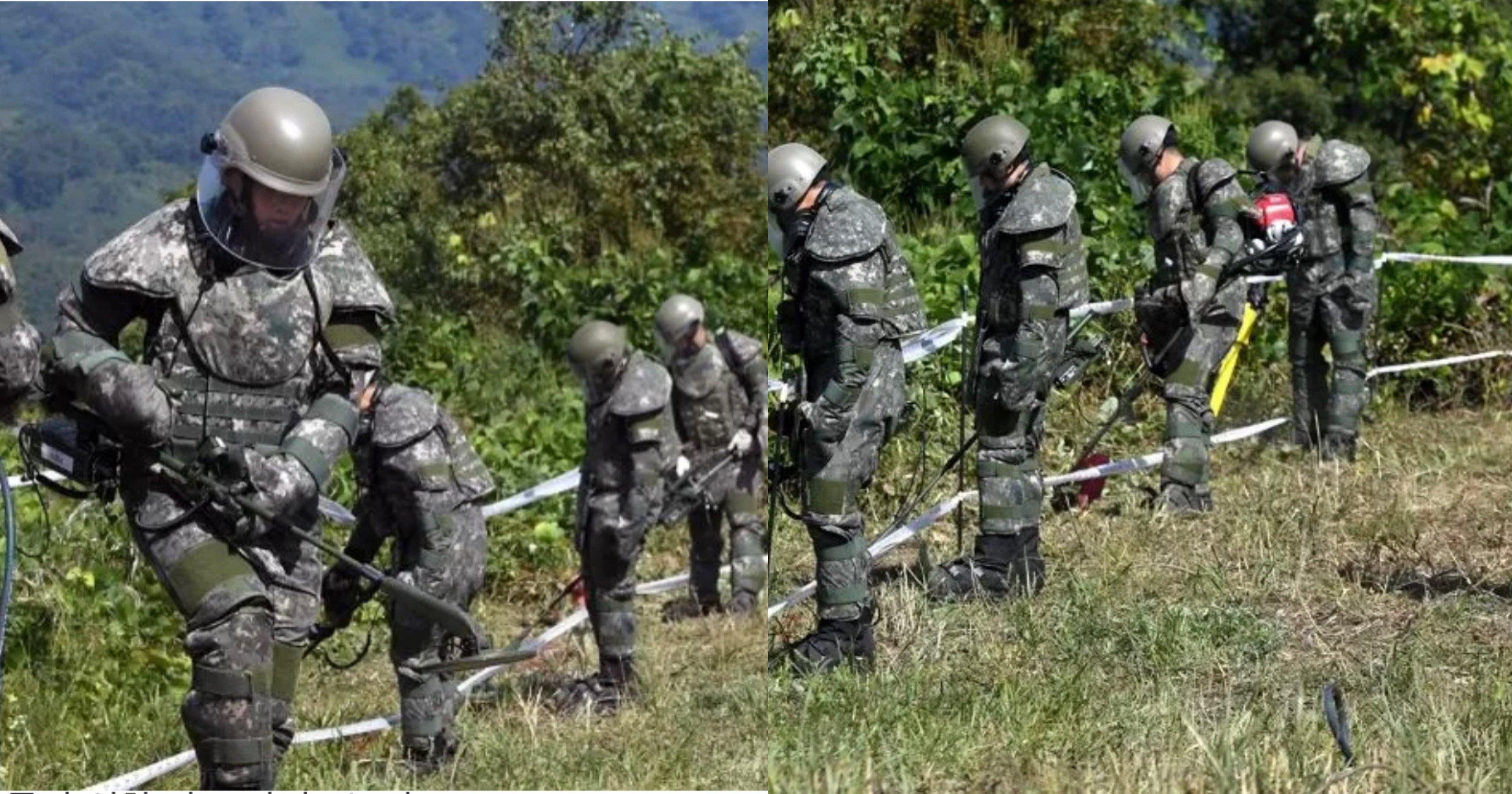 "5ad56749 4be4 4eb7 a142 384e44d5dfab.jpeg?resize=1200,630 - ""이 더운날에..""북한이 묻어 놓은 지뢰 수색하는 군인들이 '폭염주의보' 속에도 입어야 하는 방호복 수준(+사진)"