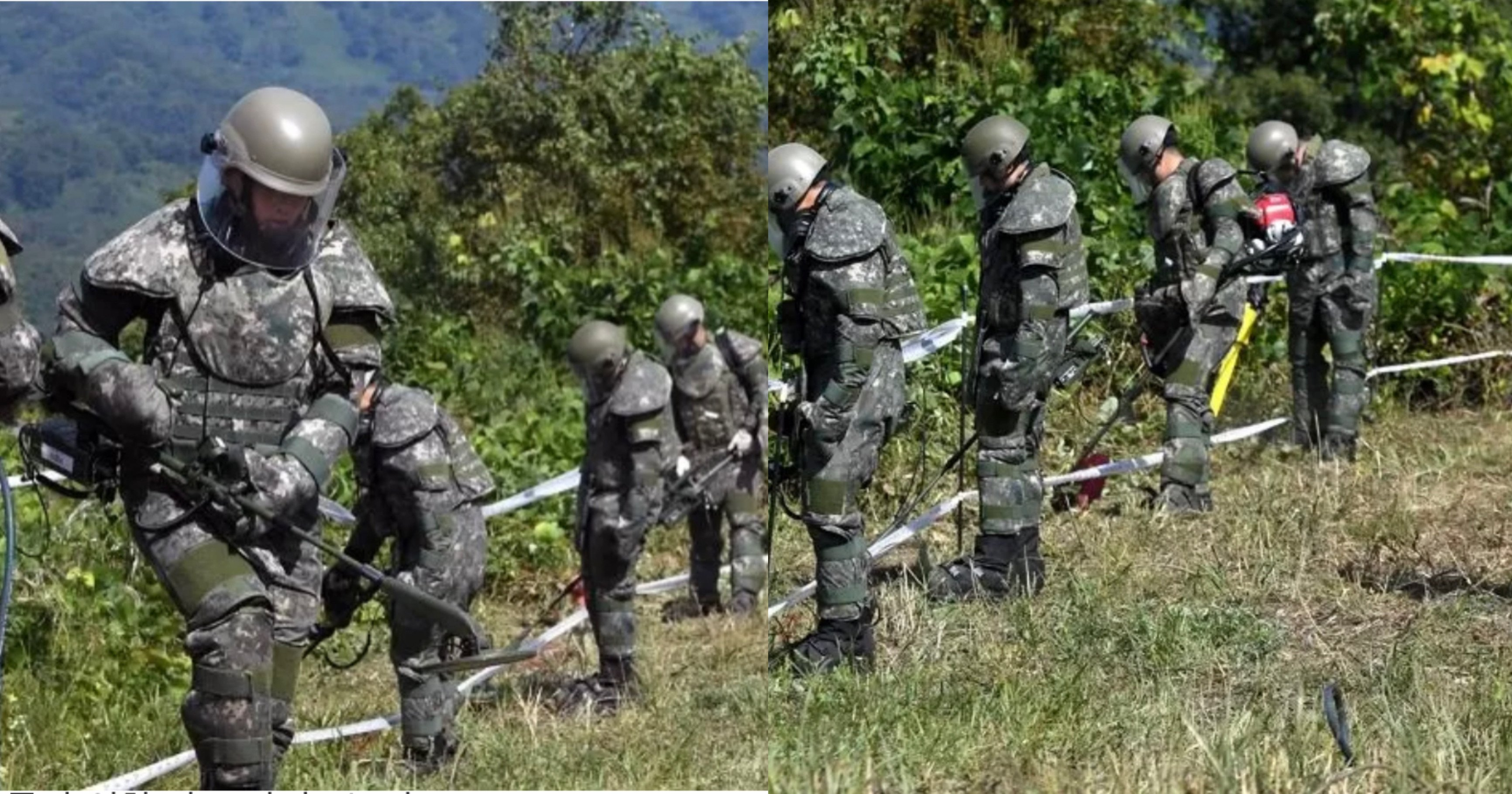 "5ad56749 4be4 4eb7 a142 384e44d5dfab.jpeg?resize=412,232 - ""이 더운날에..""북한이 묻어 놓은 지뢰 수색하는 군인들이 '폭염주의보' 속에도 입어야 하는 방호복 수준(+사진)"