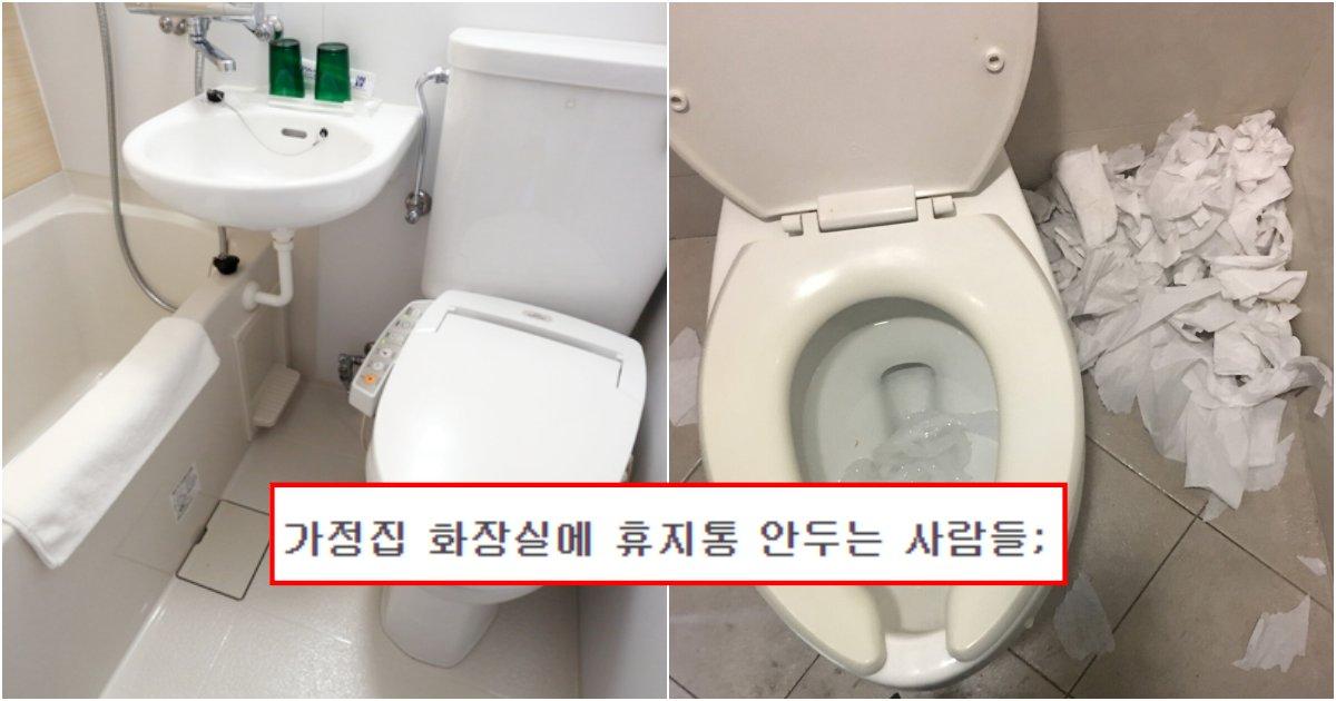 collage 121.png?resize=1200,630 - 가정집 화장실에 휴지통 안두는 사람들은 도대체 살면서 뭘 배운 인간들인가요?