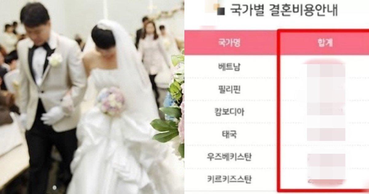"""eab2b0ed98bc.jpg?resize=1200,630 - """"국가 별로 이렇게 차이가?""""...최근 한 '국제결혼업체'가 공개한 국가별 국제 결혼 가격표"""
