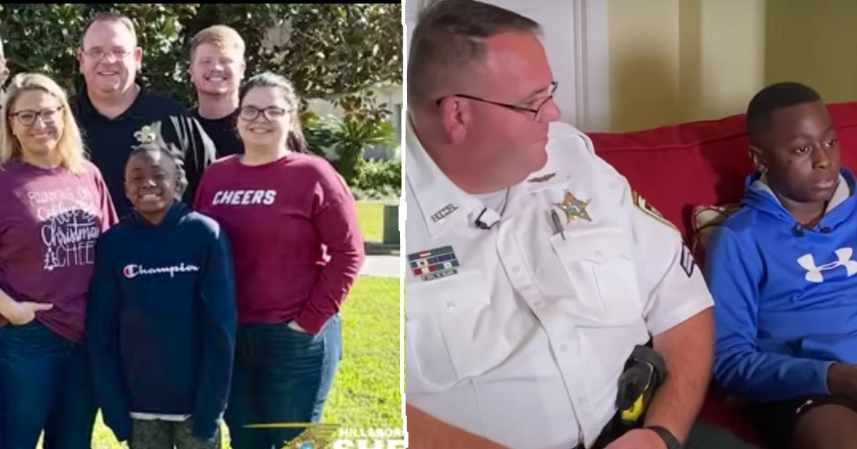 policeman adopts boy.png?resize=412,232 - Florida Detective Adopts Young Boy Who Survived Family Tragedy