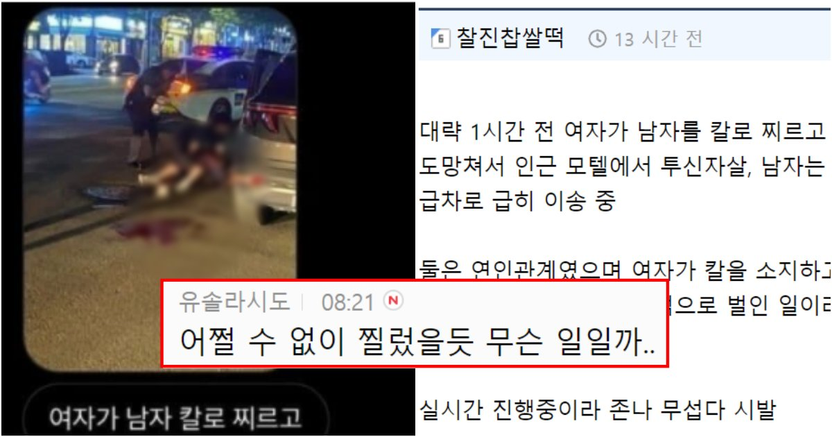 collage 659.png?resize=1200,630 - 오늘 터진 울산대학교 앞 도로에서 여자가 남자 찌르고 스스로 목숨 끊은 사건에 한국여성들 반응