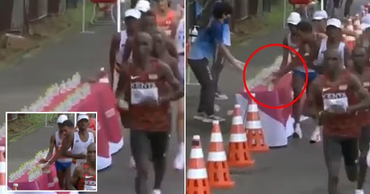 q1 61.jpg?resize=1200,630 - Outrage As Olympian Knocks Over Competitors' Water Bottles Before Taking Last One