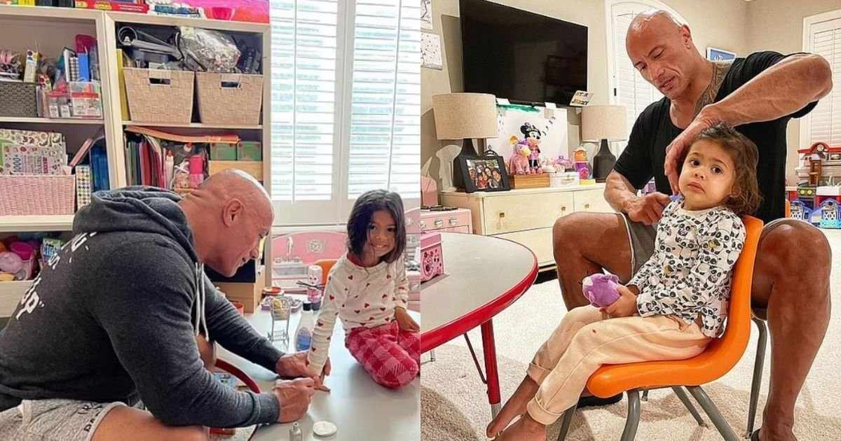 1 85.jpg?resize=412,232 - Dwayne 'The Rock' Johnson Absolutely Loves Being A Girl Dad And Paints His Three-Year-Old Daughter's Nails!