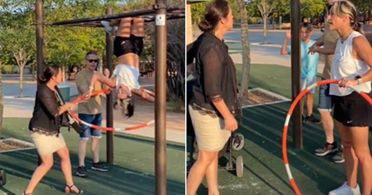 5 1 1.jpg?resize=1200,630 - Furious 'Karen' Slams World Hula Hoop Champion For Flashing Sports Bra While Hanging From Monkey Bars