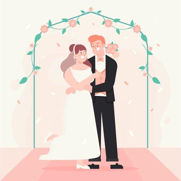 신부와 신랑 결혼 일러스트 | 무료 벡터