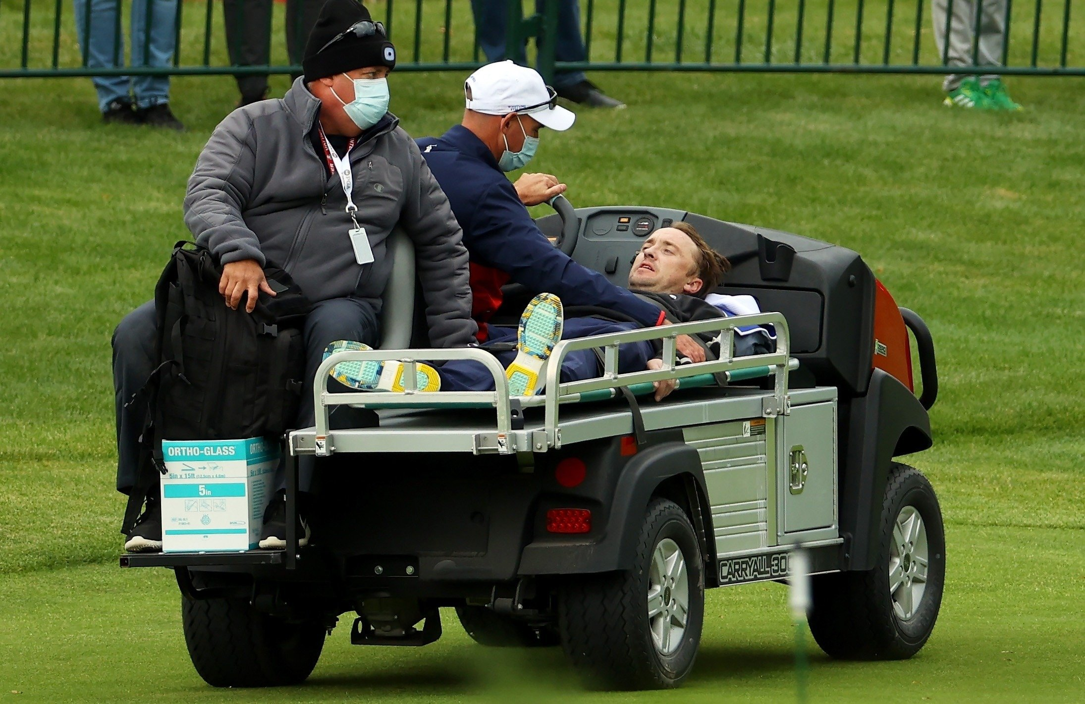 Tom Felton was stretchered off for treatment