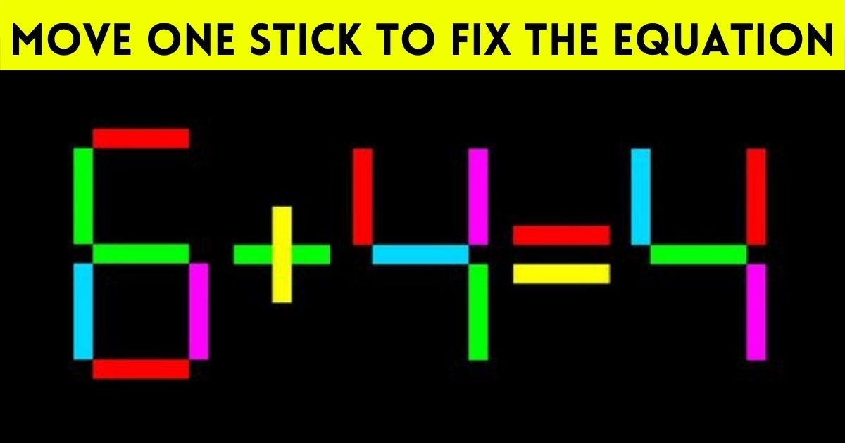 equation2.jpg?resize=412,232 - Move Just One Stick To Fix The Equation! Can You Solve This Simple Brainteaser?