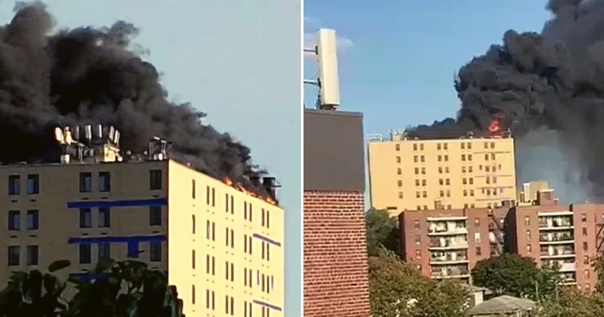 fire5.jpg?resize=1200,630 - Massive Fire Breaks Out On Roof Of A Hospital And Huge Black Plumes Of Smoke Billow Into The Sky