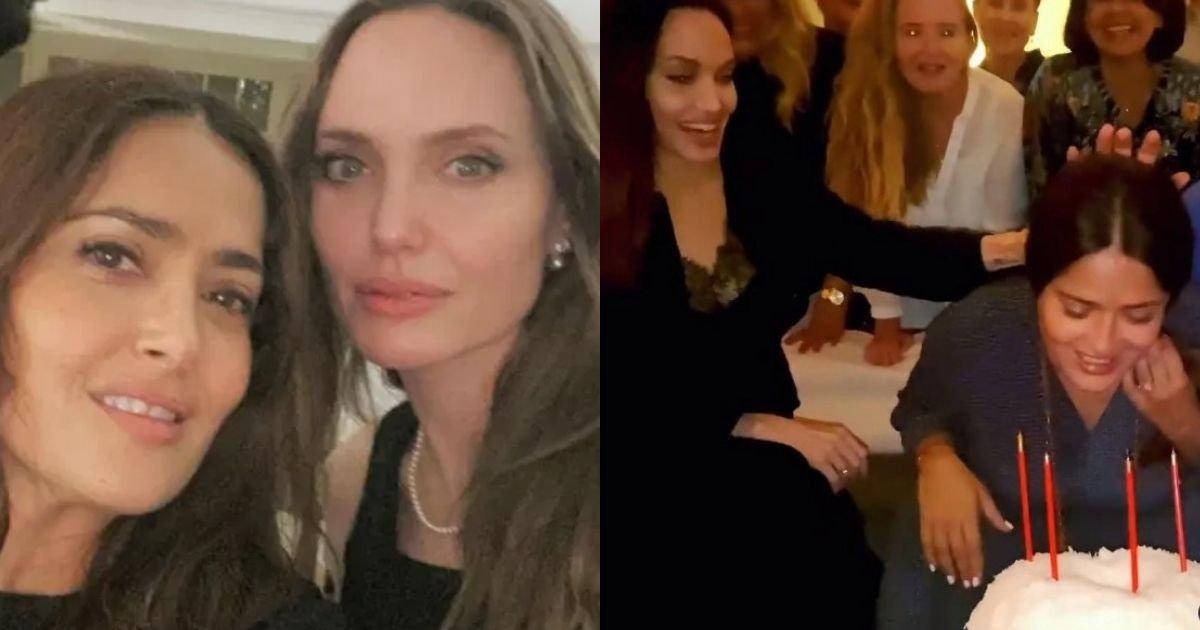 smalljoys 10.jpg?resize=1200,630 - Angelina Jolie Celebrates Salma Hayek's 55th Birthday By Shoving Her Face On The Cake