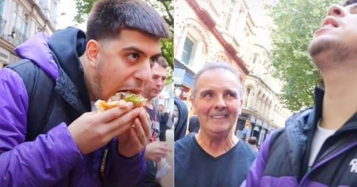 smalljoys 26.jpg?resize=412,275 - Man Labeled As 'Pathetic' After Eating 'World's Biggest Burger' In Front Of A Vegan Protest