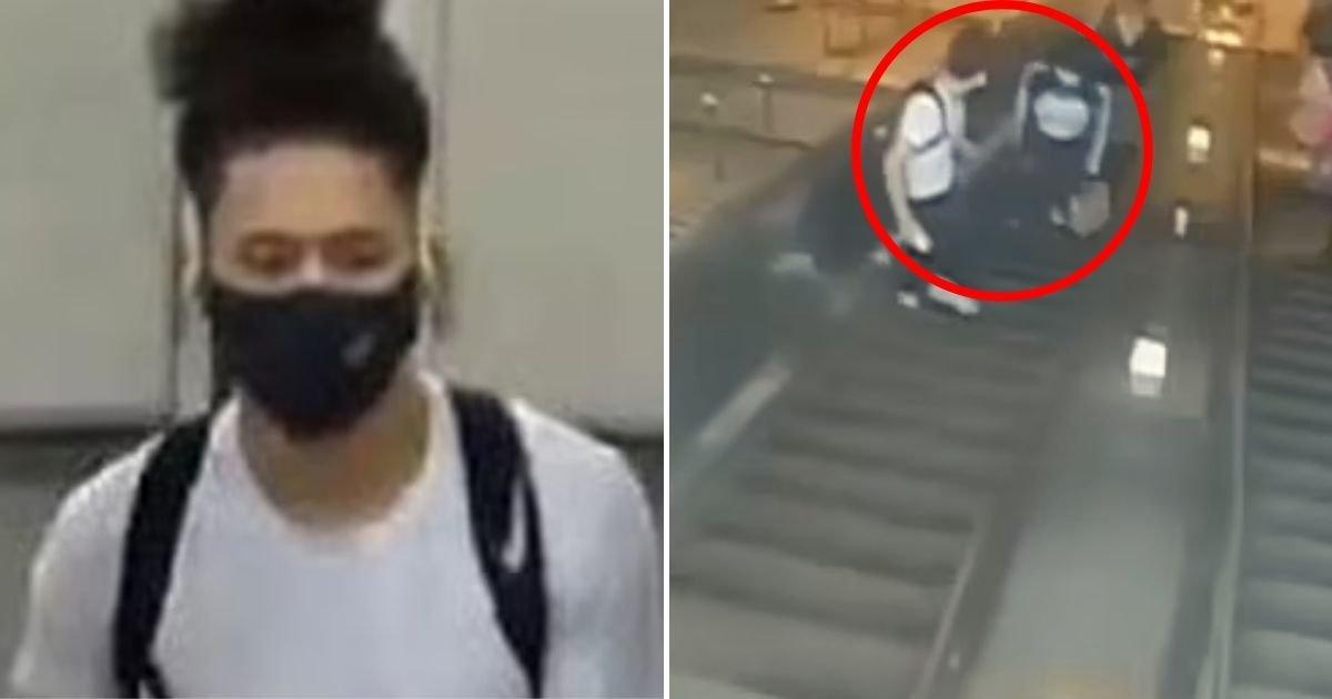 suspect4.jpg?resize=412,232 - Infuriating Moment A Man Kicks A Female Commuter Down An Escalator