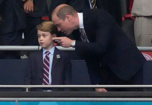Prince William and Prince George in the royal box at Wembley for the Euro 2020 final between England and Italy