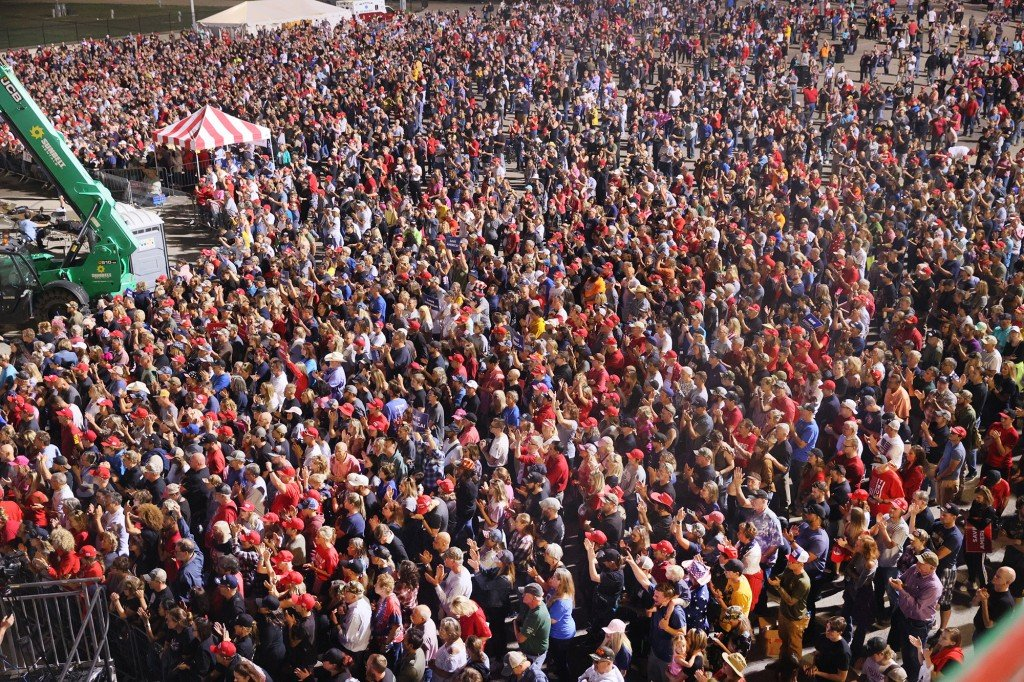 Thousands of supporters gather for former President Donald Trump's rally at the Iowa State Fairgrounds in Des Moines, Iowa on October 09, 2021.