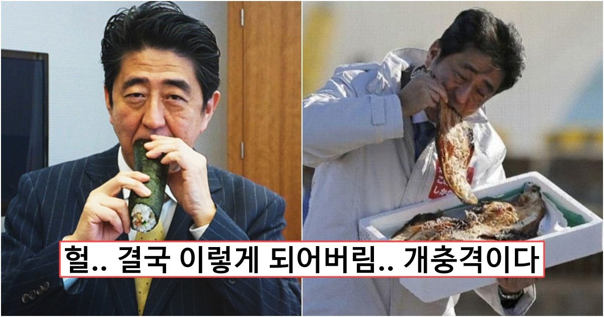 collage 373.jpg?resize=412,232 - 방사능 범벅인 후쿠시마산 수산물 즐겨 먹는 '먹방' 찍던 아베 충격 근황 (+사진)