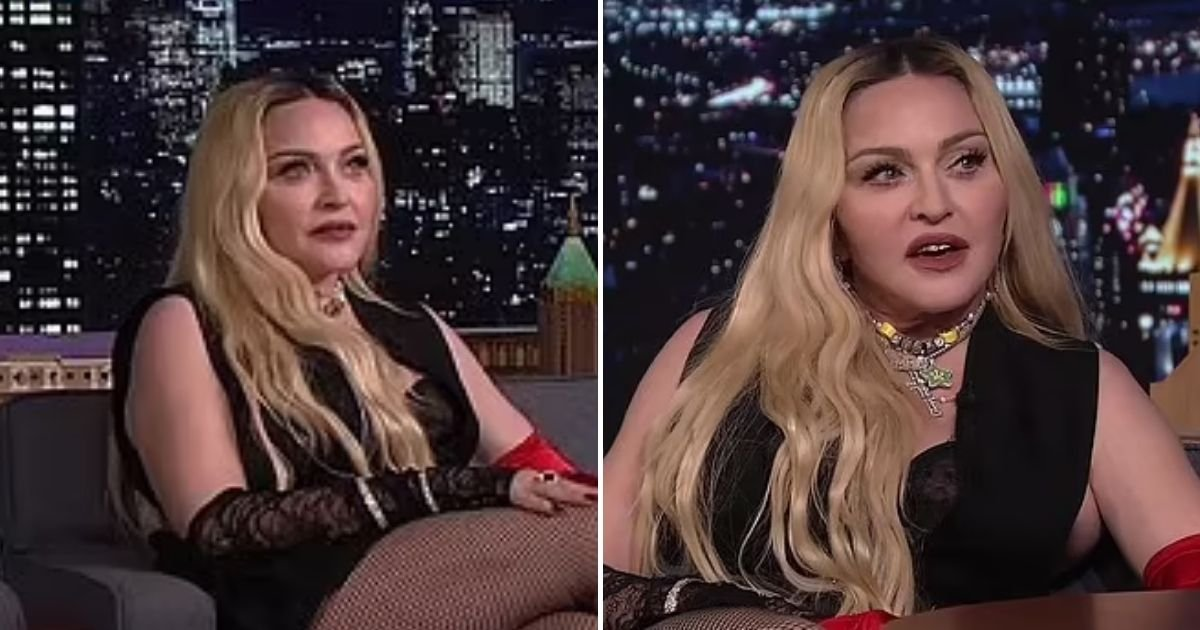 madonna3 1.jpg?resize=412,232 - Madonna Leaves The Tonight Show Viewers Cringing As She Flashes Her Backside And Glides Across Jimmy Fallon's Desk