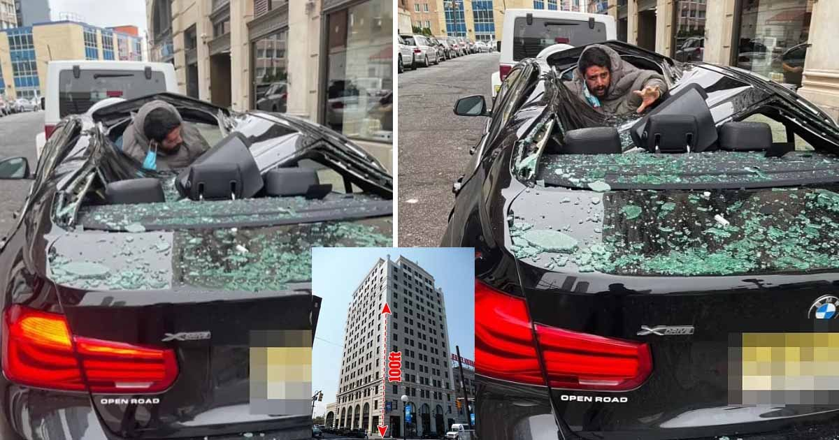 q1 1 1.jpg?resize=412,232 - Man PLUNGES 'Nine Stories' From High Rise Building In New Jersey & Crash Lands On BMW