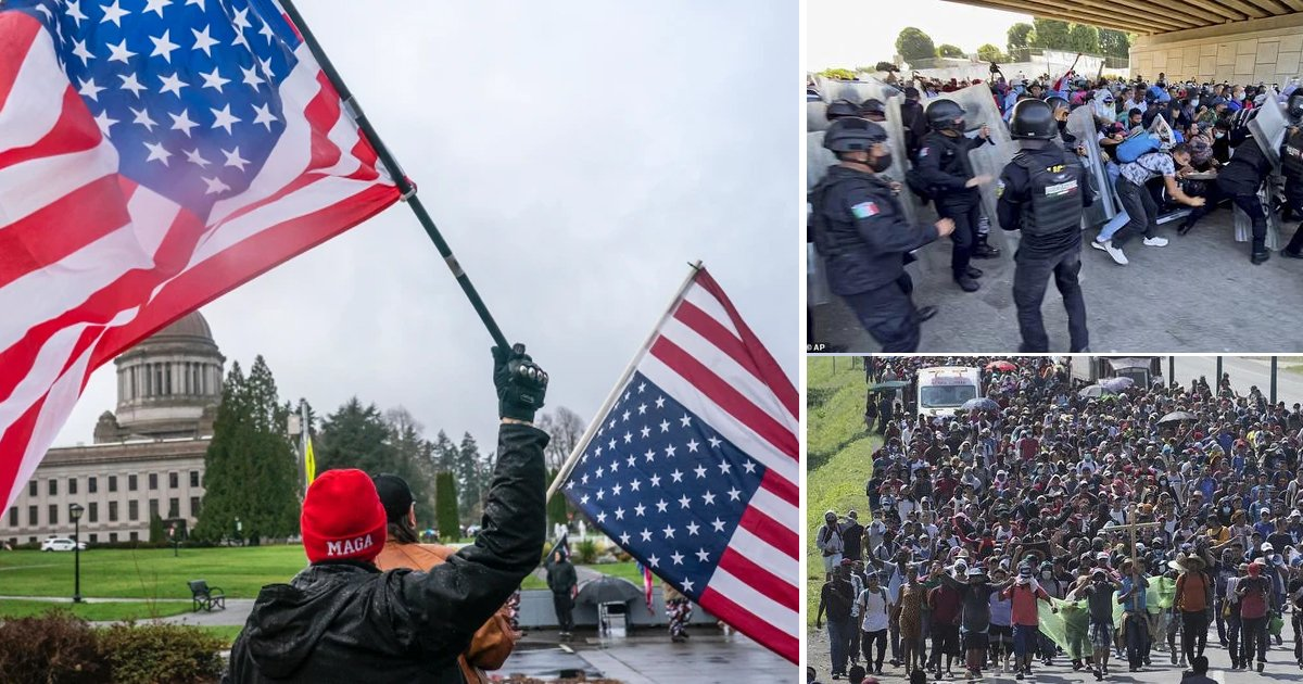 """t2 6.jpg?resize=412,275 - """"Watch Out Joe Biden!""""- Ugly Clashes Take Center Stage As 2000 Migrants March Towards US Border From Honduras & El Salvador"""
