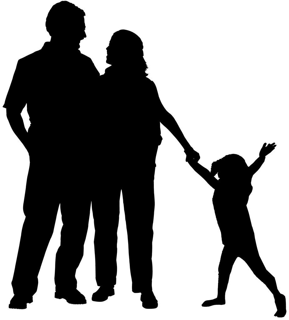 Картинки родители с детьми черно-белые